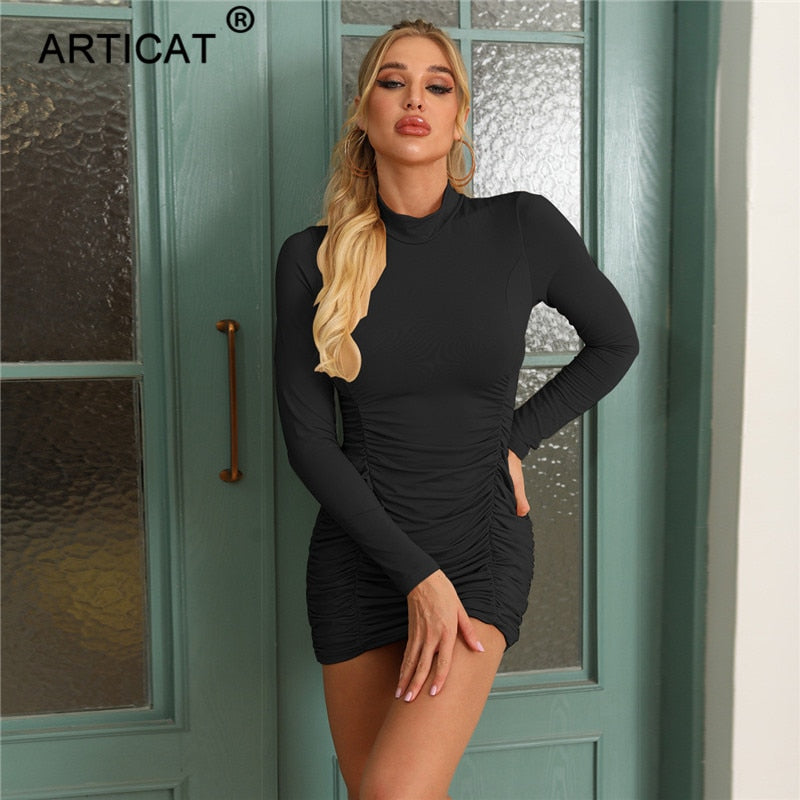 Articat O Neck Ruched Dress For Women Solid Long Sleeve Slim Pullover Dress Ladies Autumn Winter Skinny Women Vestidos Female