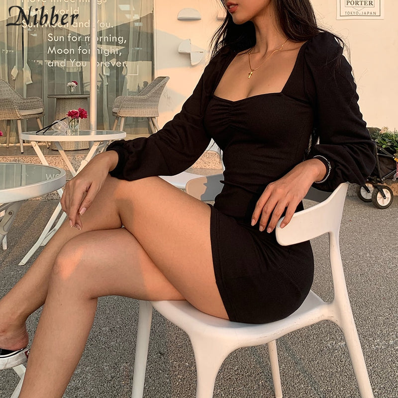 Nibber Harajuku pure knitting full sleeve low cut dress women 2019 office lady street casual black red simple bodycon mini dress