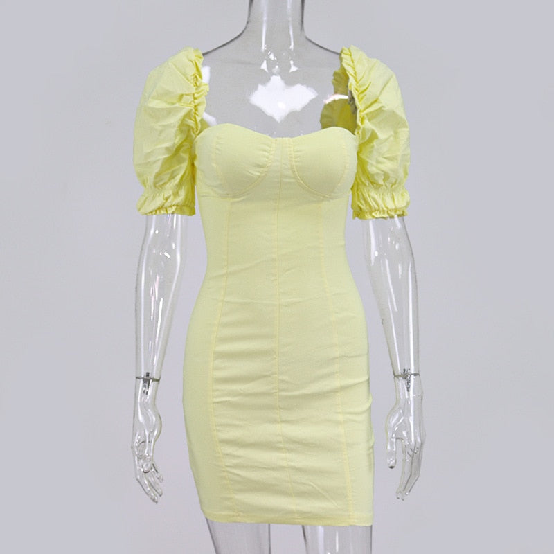 Yellow Strapless Women Dress Sexy Bodycon Short Puff Sleeve Ruffles Party Vestidos 2020 New Summer Clubwear Mini Dresses