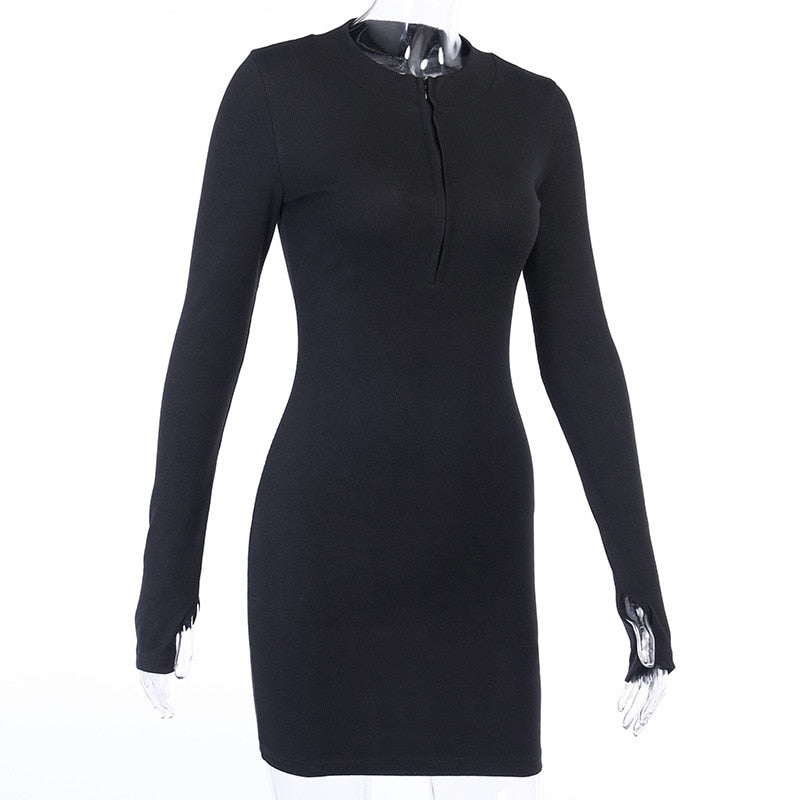 Ladies Elegant Solid Party Dress Women Casual Half-Zip Long Sleeve Rib Bodycon Dress Winter Spring Slim Mini Dresses Knitwear