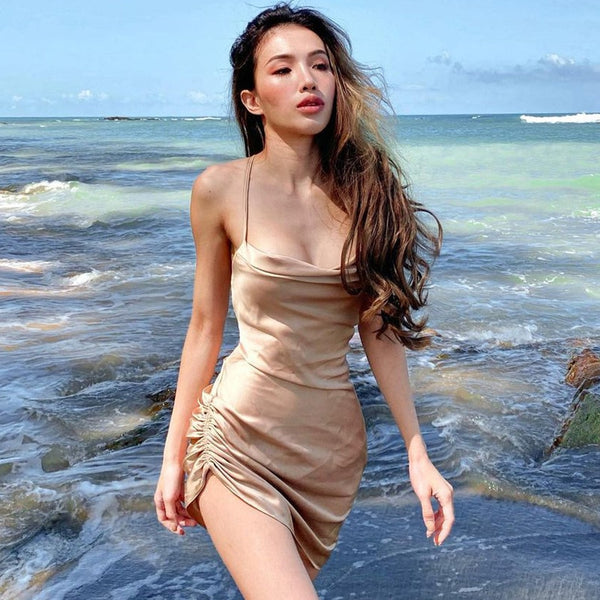 Satin Women Strap Mini Dress Sleeveless Solid Ruched Lace Up Cross Bandage Backless Bodycon Sexy Party Elegant 2021 Club Slim