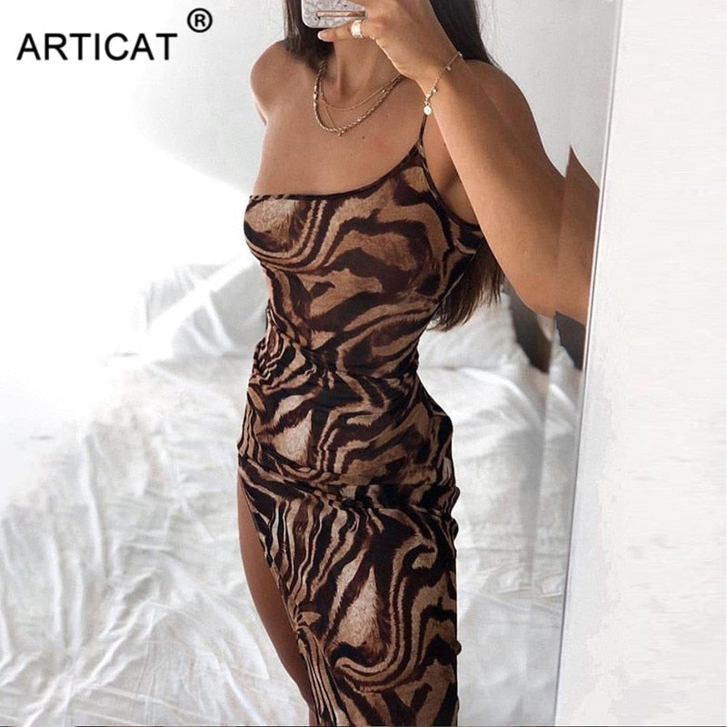 Articat Sexy One Shoulder Printed Bodycon Summer Dress Women Off Shoulder Split Blackless Sexy Party Club Midi Dresses Vestidos