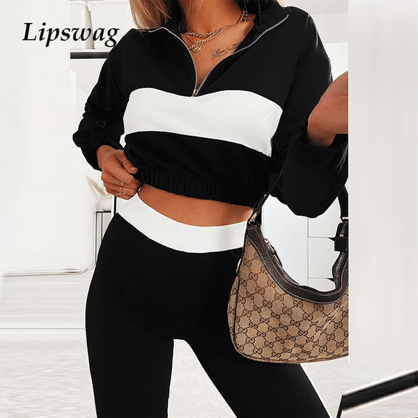 Women Tracksuit Two Pieces Set Autumn Long Sleeve Short Striped Pullover + Casual Elastic Long Pants Set Ladies Sportswear Suit