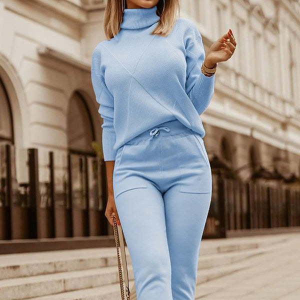 Winter Women's two piece sets Knitted Jumper Pants Suit Turtleneck Sweater Knitted Sports Suit Sweaters 2 piece womens outfits
