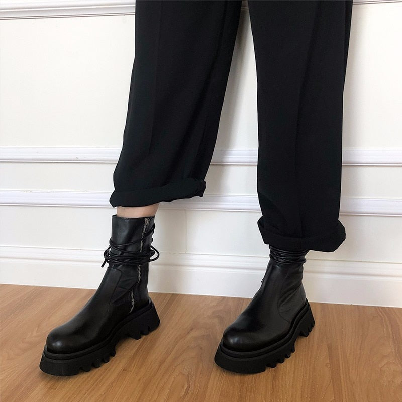 Motorcycle Boots Ladies Vintage Combat Autumn Boots Army Punk Goth Women Boots Women Biker PU Leather Short Boots Bota Feminina
