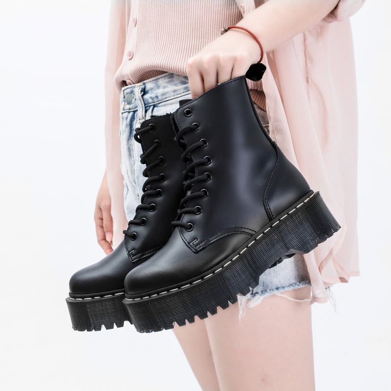Size34-41 Chunky Motorcycle Boots For Women Autumn 2019 Fashion Round Toe Lace-up Combat Boots Ladies Shoes