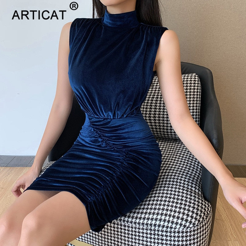 Articat Cotton Velvet Ruched Dress For Women Solid Round Collar Sleeveless Sexy Mini Dresses Ladies Autumn Party Club Vestidos