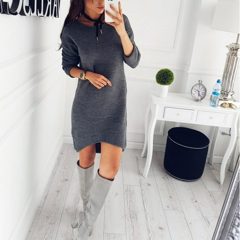 Autumn Winter New Style Fashion Women Solid O-Neck Sweater Long Shirt Casual Long Sleeve Pullove Dress Robe Femme