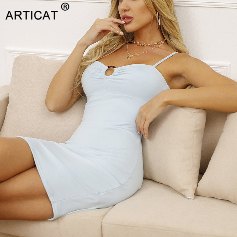 Articat Bodycon Backless Ruched Dress For Women 2021 New White Sleeveless Club Dress Spring paghetti Strap Partywear Vestidos