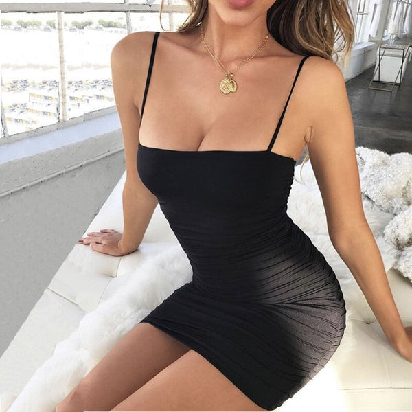 Black Sexy Bodycon Summer Dress 2019 Strapless Spaghetti Strap Bandage Mini Dress Party Casual Basic Beach Dress Short