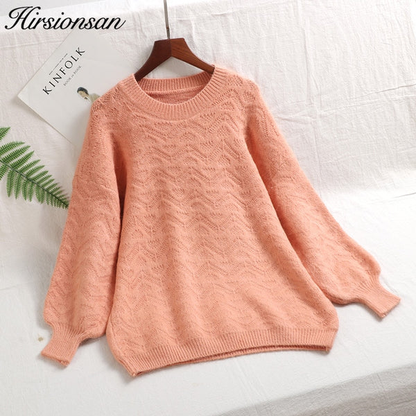 Hirsionsan Sweater Women 2019 Spring Soft Cashmere Pullovers Knitted Lantern Sleeve Oversized Sweaters Female Korean Kawaii Pull