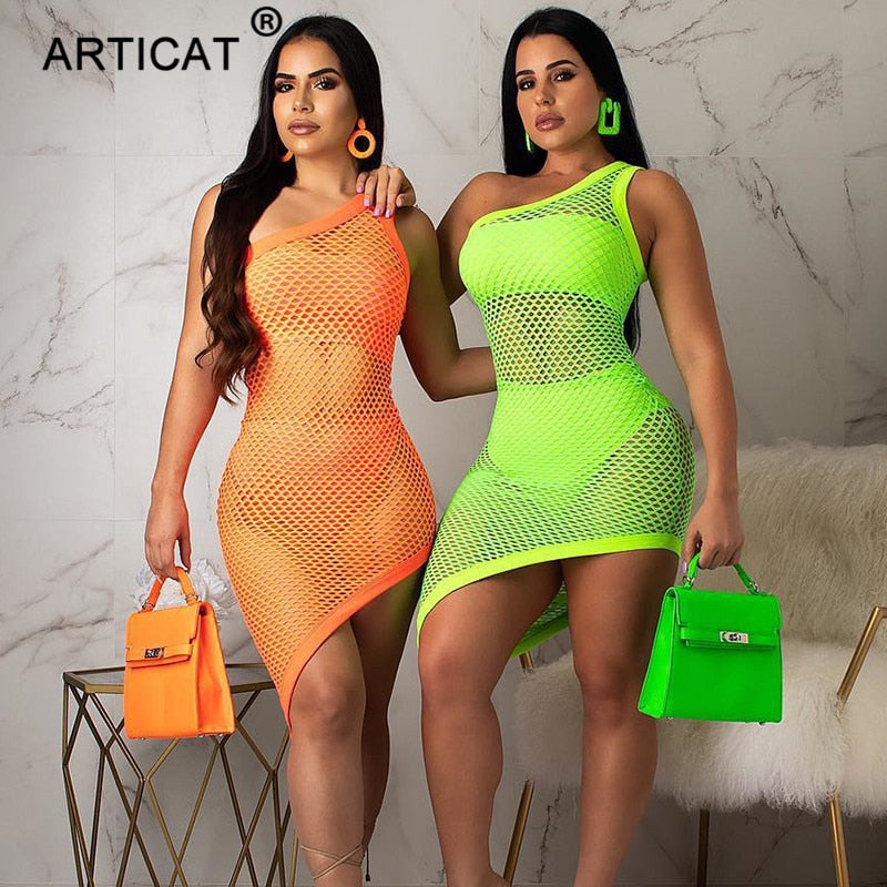 Articat Sheer Mesh Sexy Party Dress Women 2020 One Shoulder Backless Bodycon Party Summer Dress Hollow Out Fishnet Beach Dress