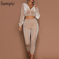 Sampic Long Sleeve Two Piece Set Pink Outfit Tracksuit Women Crop Tops Pocket Black Autumn Winter Two Piece Set Top And Pants