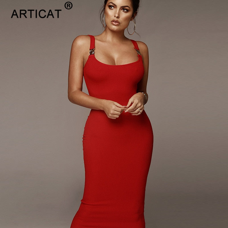 Articat Ribbed Knitted Sexy Bodycon Winter Dress Women Straps Sleeveless Bandage Pencil Spring Dress 2020 Vestidos Casual Dress