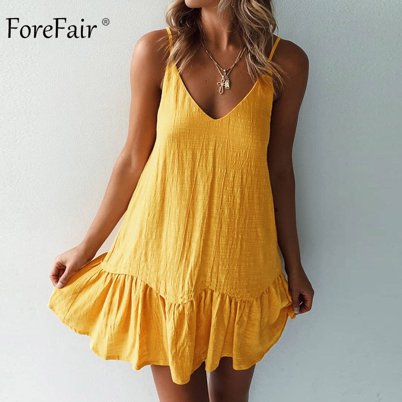Forefair Mini Summer Dress Strap Off Shoulder Yellow White Ruffle Plus Size Loose Casual Linen Sundress Sexy Beach Dress Women