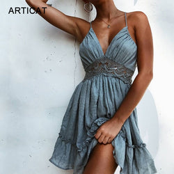 Articat Sexy Lace Backless V Neck Summer Dress Women Strap Sleeveless Hollow Out Short Dress Casual Beach Party Dresses Vestidos