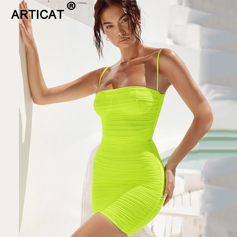 Articat Double Layer Mesh Transparent Sexy Dress Women Spaghetti Strap Srapless Bodycon Dress Short Ruched Party Summer Dress
