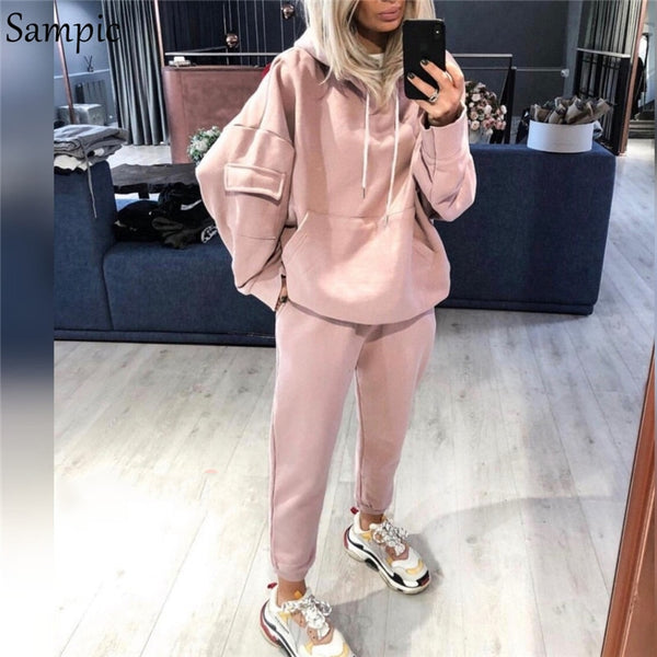Sampic Casual Women Sport Sweatshirt 2 Piece Long Sleeve Oversized Pullover Hoodies Tops And Pants Two Piece Set Tracksuit 2020