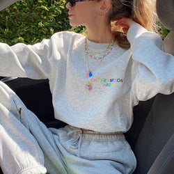 Artsu Embroidery Letter Cropped Sweatshirt Women Fashion Casual Crewneck Tops Autumn Clothes Long Sleeve Pullover Streetwear