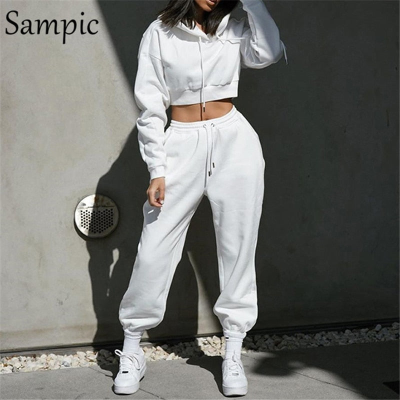 Sampic Women Casual Sport Hoodies Sweatpants Set Pullover Long Sleeve Shrit Tops And Loose Hip Hop Pants Two Piece Set Outfits