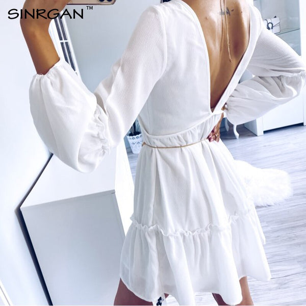 SINRGAN Sexy deep v-neck backless white women dress Modis elegant Hollow out streetwear Bohemian beach dress summer 2020