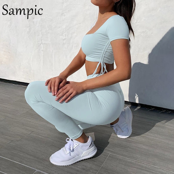 Sampic Summer Fashion 2020 Sport Set Women Outfits Skinny Short Sleeve Crop Top And Pants Tracksuit Two Piece Sets Streetwear
