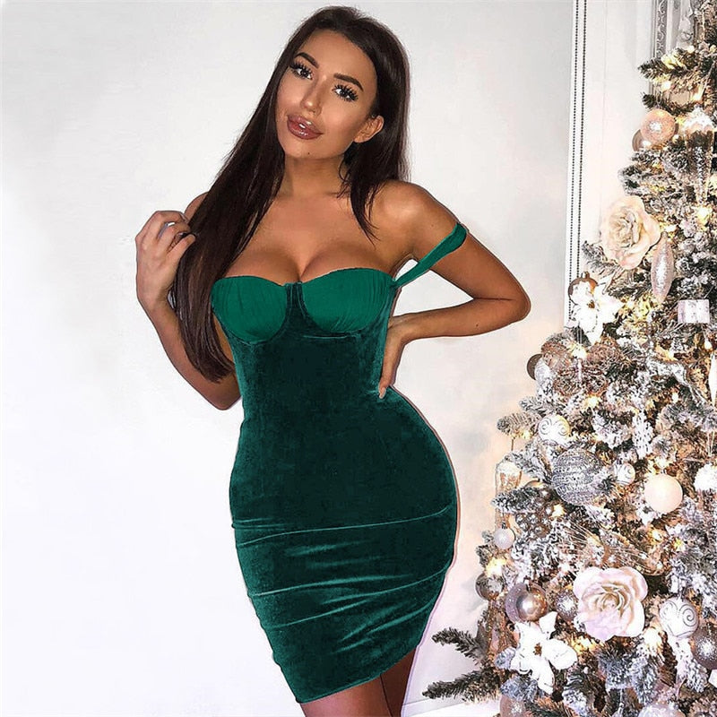 Tobinoone Fashion Women Sleeveless Mini Dress Vintage Outfit Casual Dress off shoulder Stretch Velvet Strapless Bodycon Dress