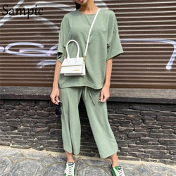 Sampic Sexy Fashion Khaki Women Summer Casual Two Piece Set Short Sleeve Tops Shirt And Loose Beach Pants Set Bottom Suit Outfit