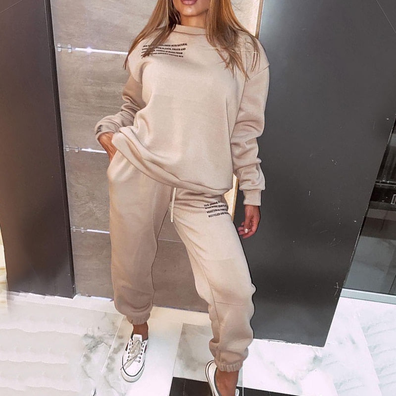Two Piece Set Clothes For Women Tracksuit Harajuku Hooded Sweatshirt And Long Pants New Casual 2 Piece Outfits Woman Sport Suit