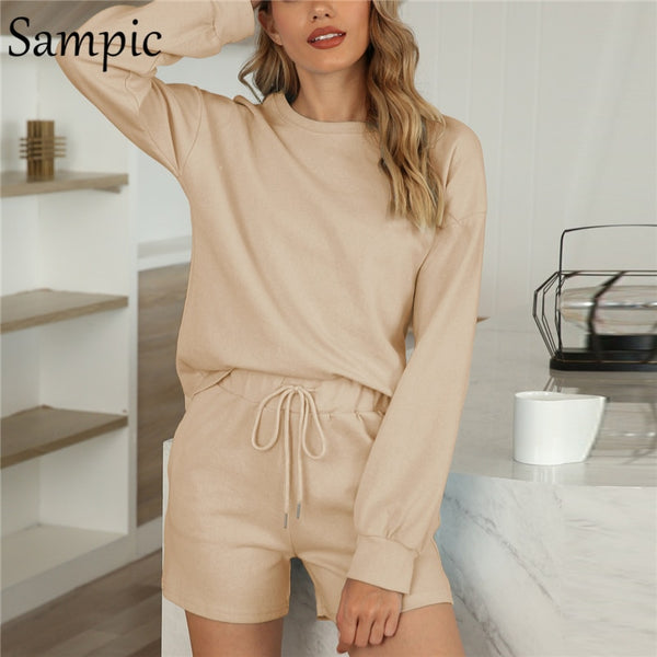 Sampic Outfits Summer Winter Lounge Wear Women Set Long Sleeve Black Olive Green Khaki Shirt Tops And Loose Shorts Two Piece Set