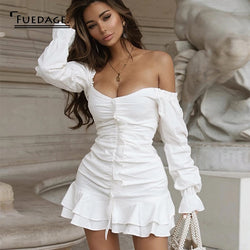 Fuedage Summer White Ruffles Off Shoulder Sexy Dress Women Slash Neck Strapless Bodycon Dresses Mini Backless Club Party Vestido