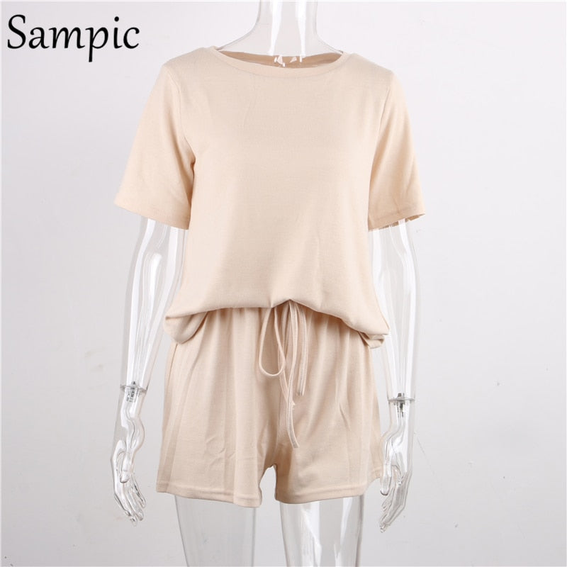 Sampic Summer Beach Knitted Pullover Casual O Neck Women Set Short Sleeve Shirt Tops And Loose Shorts Outfit Pink Khaki Suit