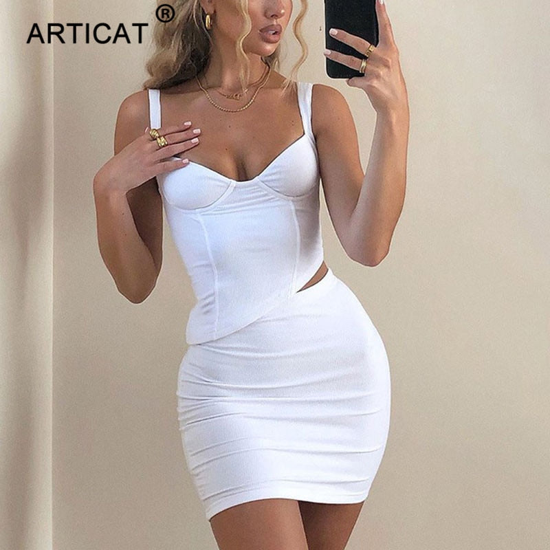 Articat Spaghetti Strap Backless Two Piece Set Women Solid Sleeveless Crop Top Mini Skirt Streetwear Bodycon Sexy Club Partywear
