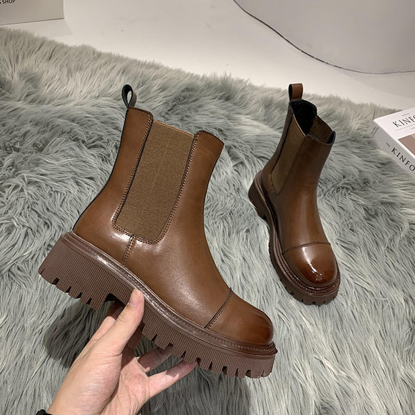 Women Chelsea Boots Elastic Martin Ankle Slip-on Black Brown Leather Plush Square Toe Platform Short Basic Winter Boots Ladies