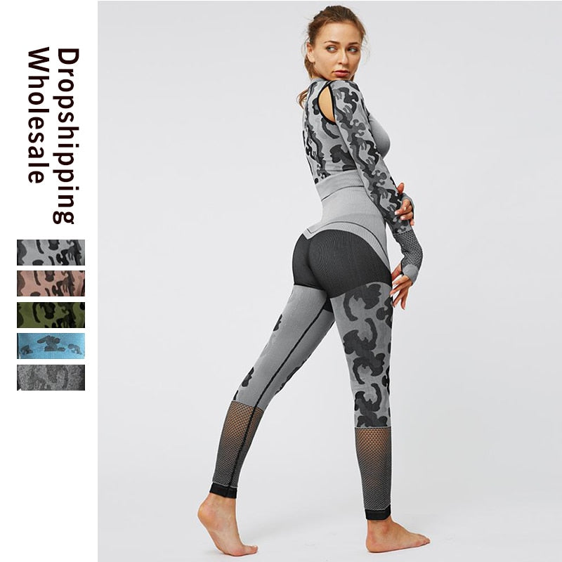 Workout Clothes for Women Print Sportswear Woman Fitness Sports Suit Female Leggings Top Gym Workout Set Jogging Femme Winter
