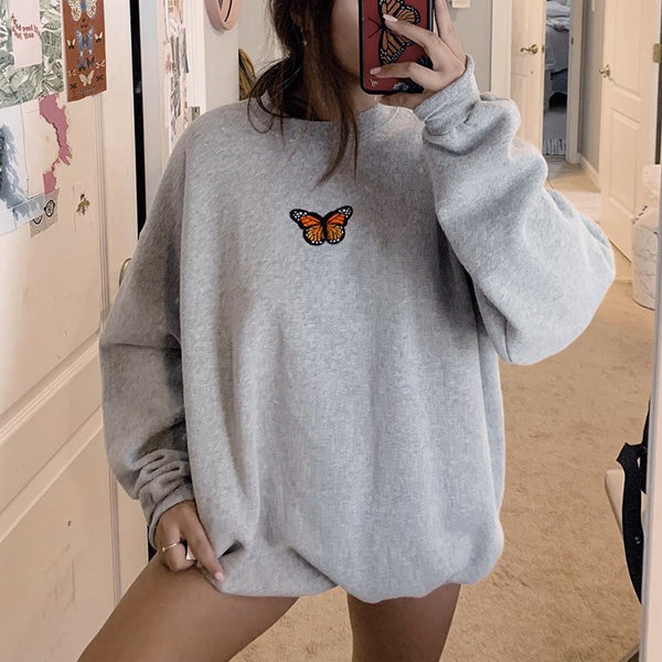 Women's Butterfly Embroidery Sweatshirt Long Sleeve 2020 Spring Winter Oversize Hoodies Women Retro Loose Hoodies Sweatshirt Top