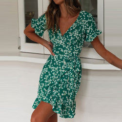 Women Dresses Summer 2019 Sexy V Neck Floral Print Boho Beach Dress Ruffle Short Sleeve A Line Mini Dress Wrap Sundress Robe