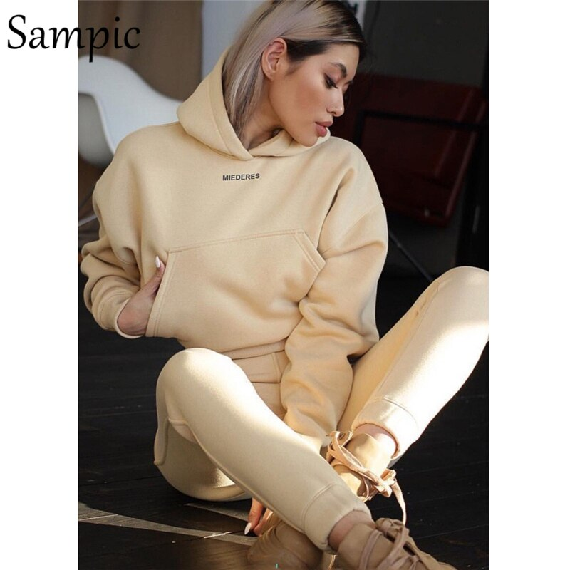 Sampic casual winter hoodie two piece set women tracksuit long sleeve print shirt tops and pants two piece set outfits 2020