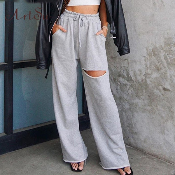 Artsu Wide Leg High Waist Long Pants Women Summer Clothes Casual Loose Long Trousers Sport Pant Elastic Ladies Solid Sweatpants