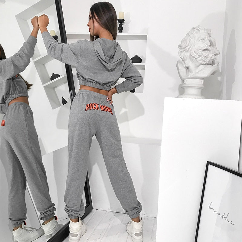 Casual Letter Print Crop Top Hoodie And Joggers Woman Pants Two Piece Set Gray Tracksuit Women 2020 Autumn Streetwear Set Outfit