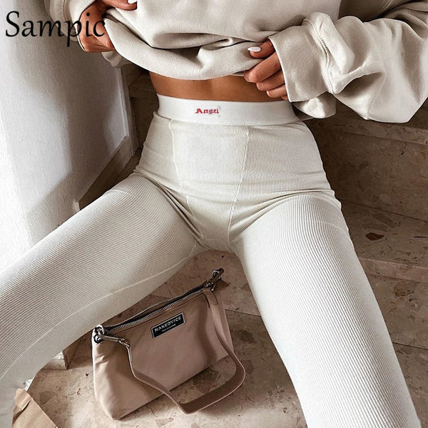 Sampic high waist summer fashion streetwear pantalon women jogger pants casual white sport print sweatpants women trousers
