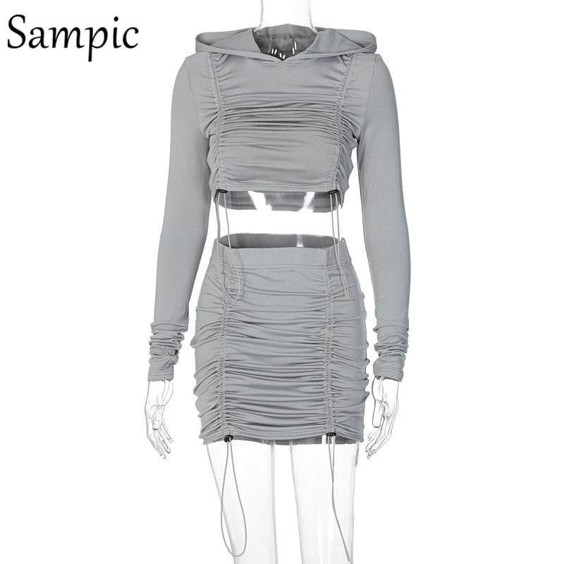 Sampic Fashion Women Autumn 2020 Sexy Ruched Skirt Set Black Long Sleeve Tops And Mini Skirt Party Club Two Piece Set Outfits