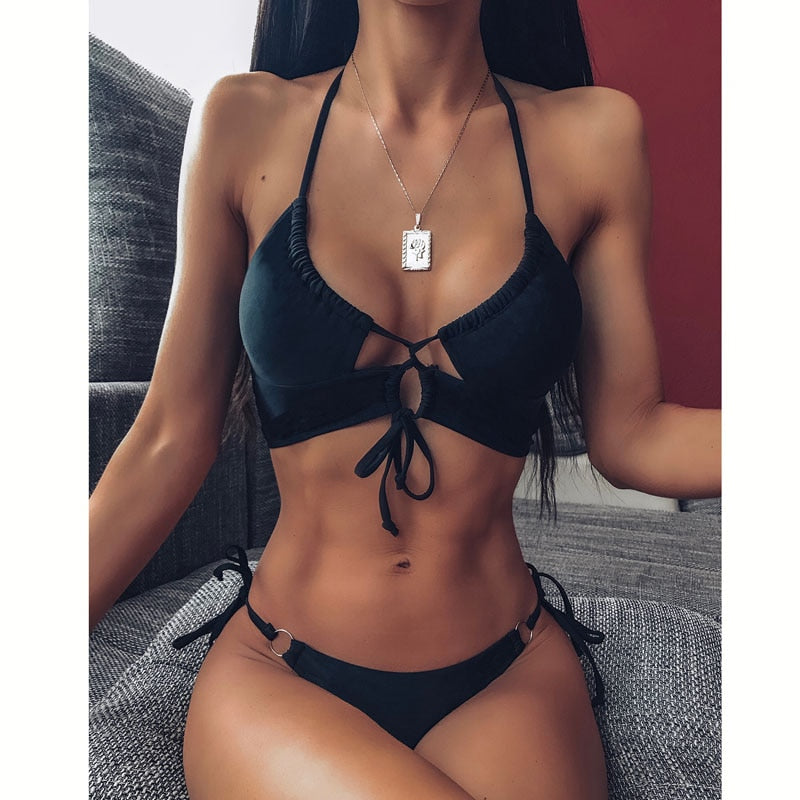 Sexy Bikini 2020 High Waist Swimsuit Women Swimwear Bathing String Bikini Set Hollow Out Swimsuit Female Swimming Suit For Women