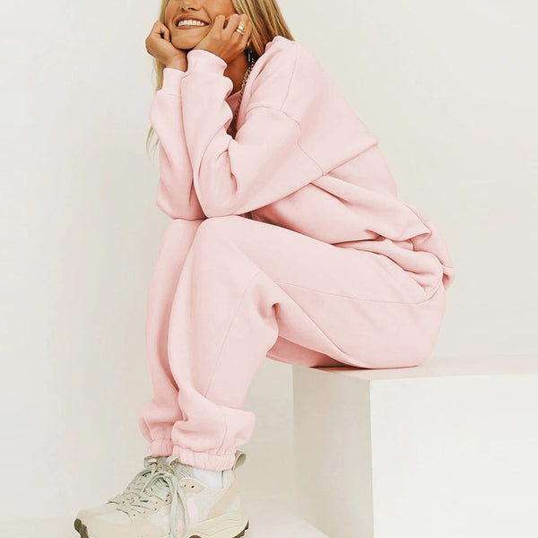 Sports Lounge Wear Outfits Pink 2 Piece Set Pullovers Oversize Tracksuit Women Sweatshirt Suit Casual Solid Sweatpants Fall 2020