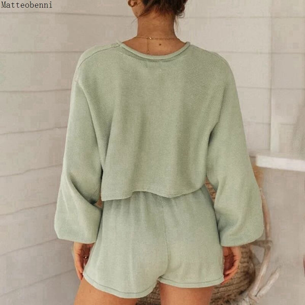 Spring Casual Solid Sweater Two Piece Outfits Tracksuit Womens Puff Sleeve Top And Shorts Suits Summer Sexy 2pcs Matching Sets