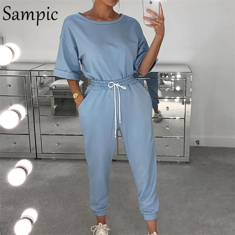Sampic Summer Fashion Women Sets Khaki Cotton Short Sleeve Shirt Tops And Pants Two Piece Set Women Lounge Wear Outfits Suit