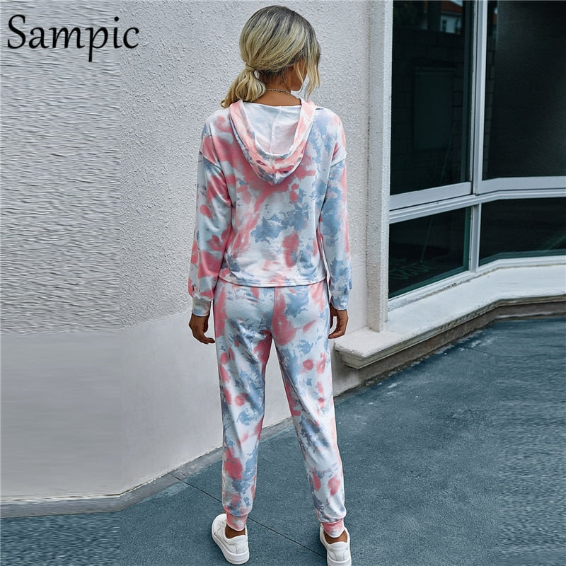 Sampic Tie-dye Tracksuit Women Lounge Wear Jogging Two Piece Pants Set Long Sleeve Hoodies Tops And Loose Pants Set Outfit