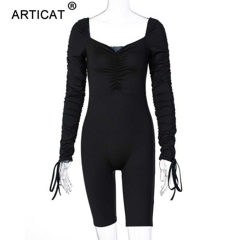 Articat Drawstring Bodycon Jumpsuit Women Sexy Skinny Long Sleeve Playsuit Ladies Solid Elastic Ruched Rompers Bodysuit Female