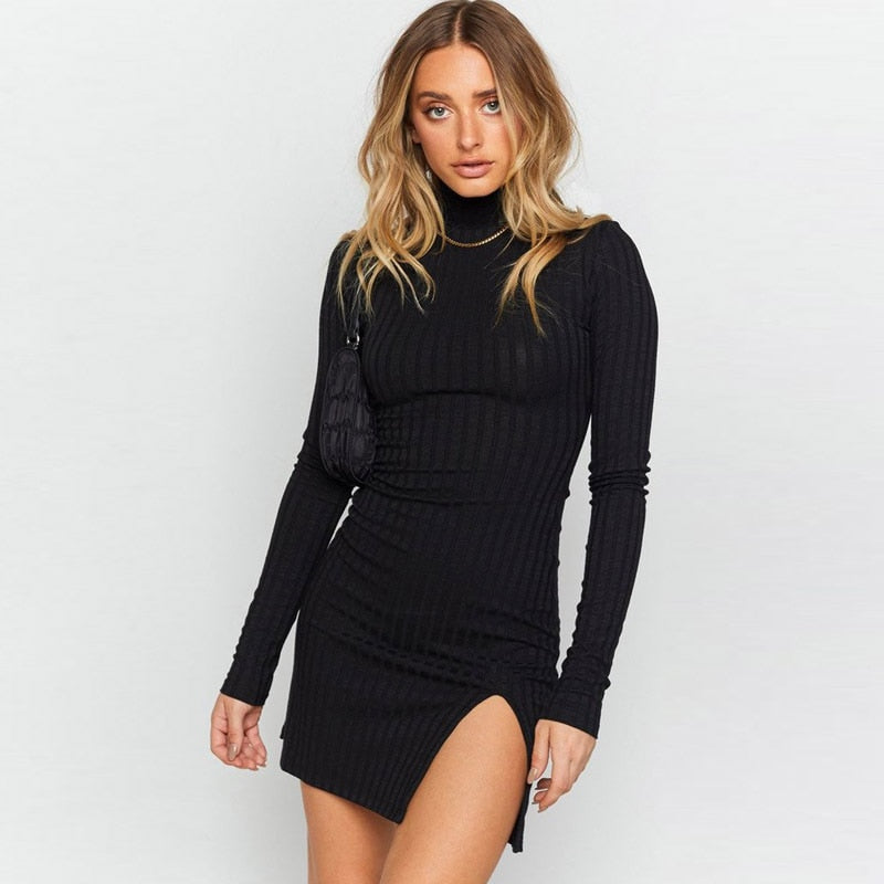 2020 Autumn Winter Sexy Slit Dress Women Long Sleeve Turtleneck Elastic Slim Dresses Fashion Casual Ribbed Bodycon Femme Robe