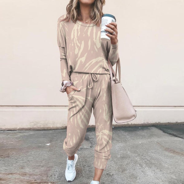 Women Tracksuit Two Piece Pullovers Cloting Long Sleeve Tie-dye Print Female Tops And Elastic Waist Pants Slim Casual Streetwear